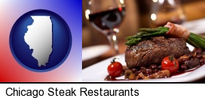 Chicago, Illinois - a steak dinner