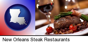 New Orleans, Louisiana - a steak dinner