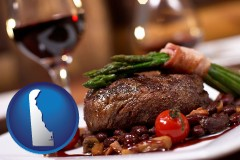 delaware map icon and a steak dinner