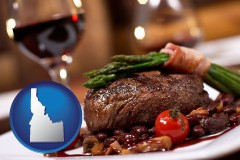 id map icon and a steak dinner