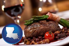 la map icon and a steak dinner