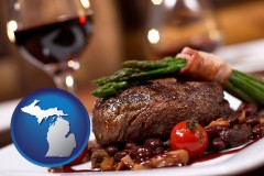 michigan map icon and a steak dinner