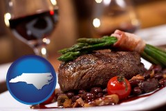 nc map icon and a steak dinner