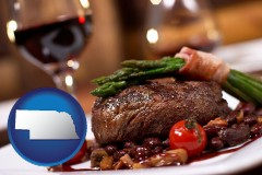 ne map icon and a steak dinner