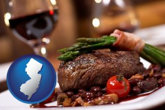 new-jersey map icon and a steak dinner