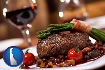 a steak dinner - with Delaware icon