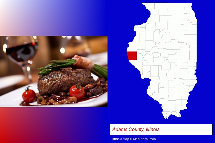 a steak dinner; Adams County, Illinois highlighted in red on a map
