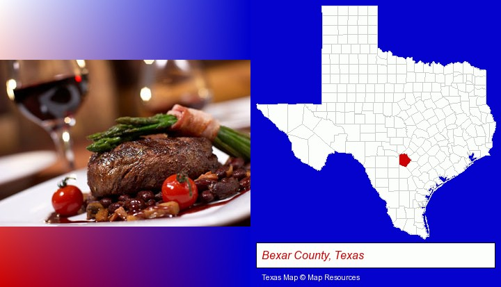 a steak dinner; Bexar County, Texas highlighted in red on a map