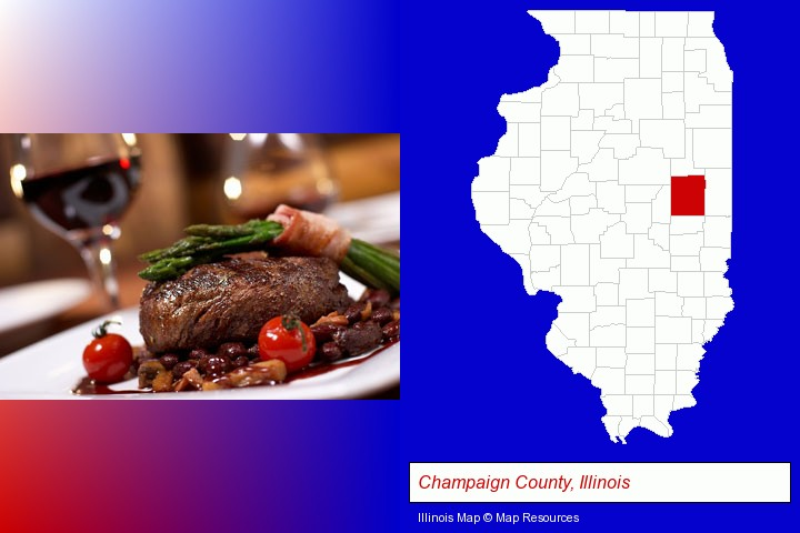 a steak dinner; Champaign County, Illinois highlighted in red on a map