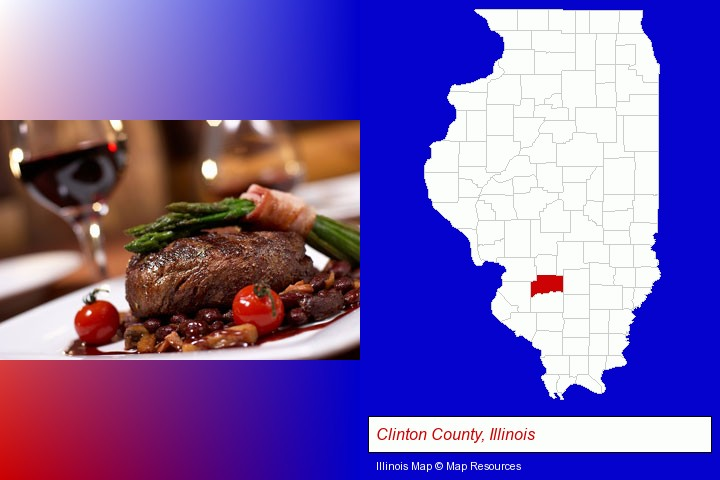 a steak dinner; Clinton County, Illinois highlighted in red on a map