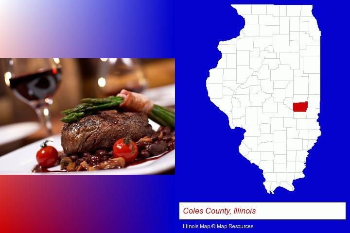 a steak dinner; Coles County, Illinois highlighted in red on a map
