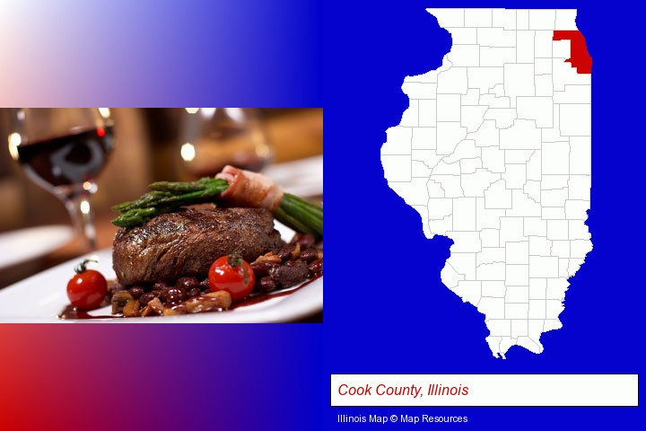 a steak dinner; Cook County, Illinois highlighted in red on a map