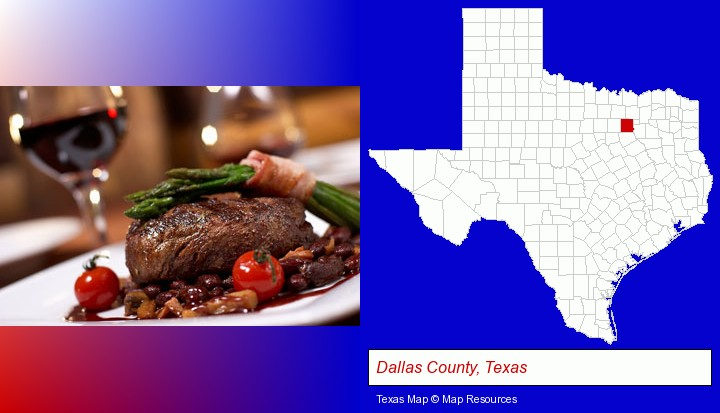 a steak dinner; Dallas County, Texas highlighted in red on a map