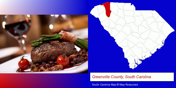 a steak dinner; Greenville County, South Carolina highlighted in red on a map