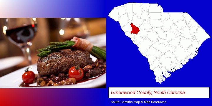 a steak dinner; Greenwood County, South Carolina highlighted in red on a map
