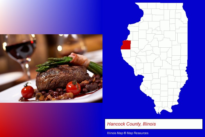 a steak dinner; Hancock County, Illinois highlighted in red on a map