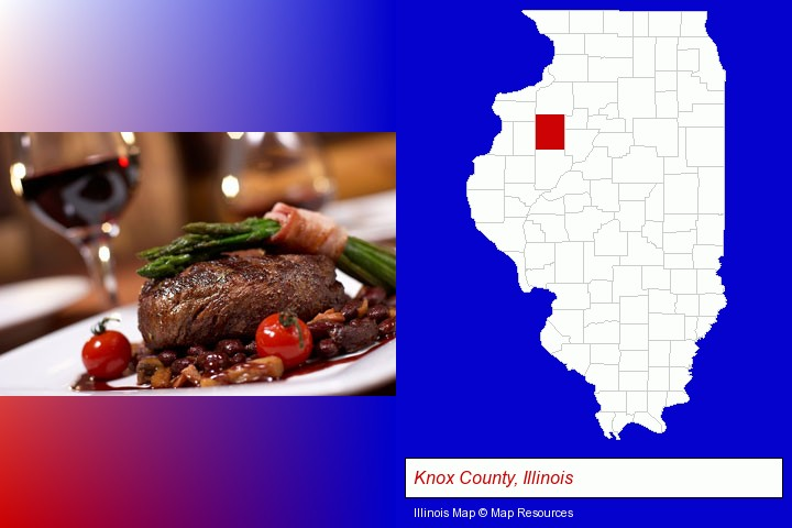 a steak dinner; Knox County, Illinois highlighted in red on a map