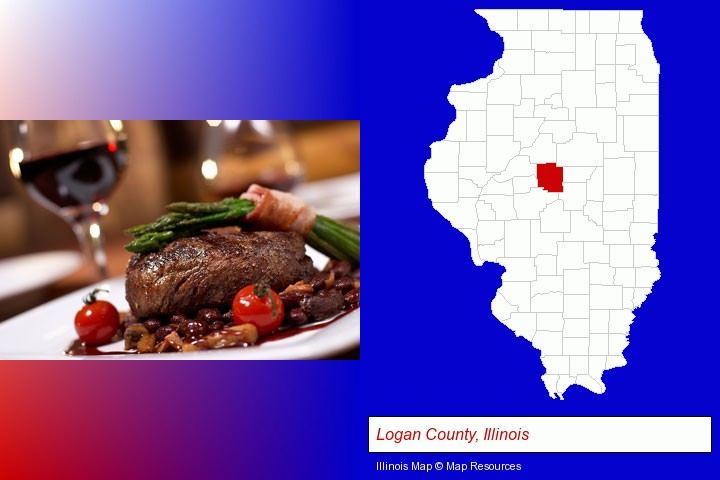 a steak dinner; Logan County, Illinois highlighted in red on a map