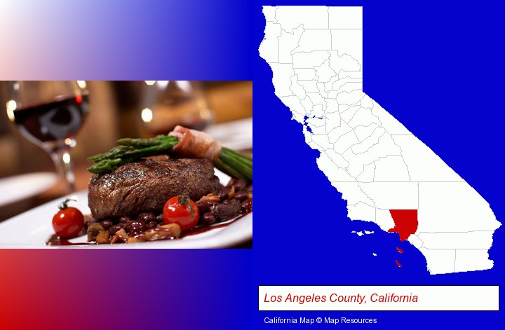a steak dinner; Los Angeles County, California highlighted in red on a map