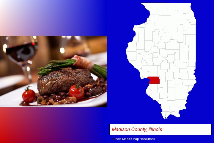 a steak dinner; Madison County, Illinois highlighted in red on a map