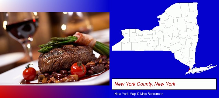 a steak dinner; New York County, New York highlighted in red on a map