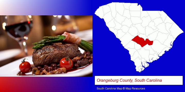 a steak dinner; Orangeburg County, South Carolina highlighted in red on a map