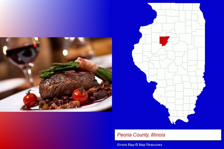 a steak dinner; Peoria County, Illinois highlighted in red on a map