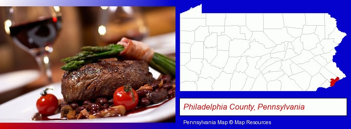 a steak dinner; Philadelphia County, Pennsylvania highlighted in red on a map