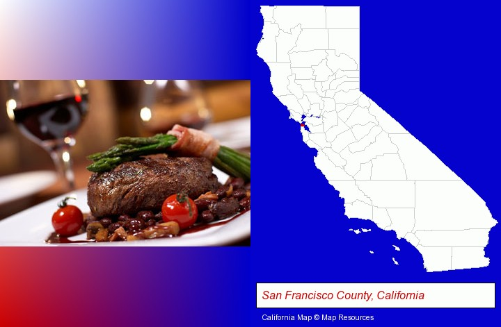 a steak dinner; San Francisco County, California highlighted in red on a map