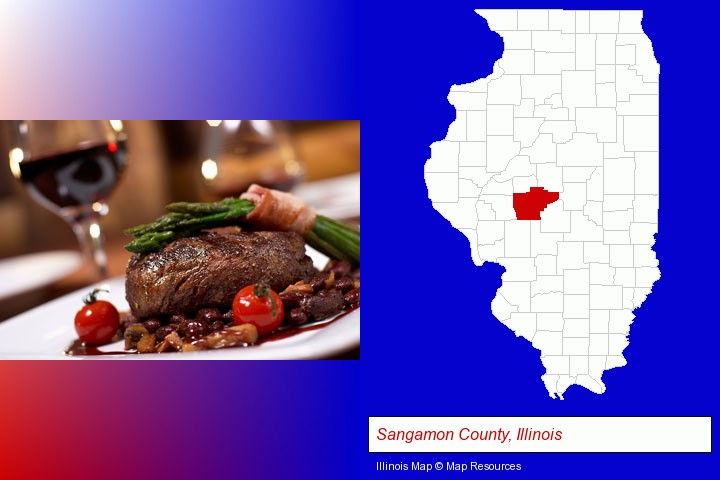 a steak dinner; Sangamon County, Illinois highlighted in red on a map