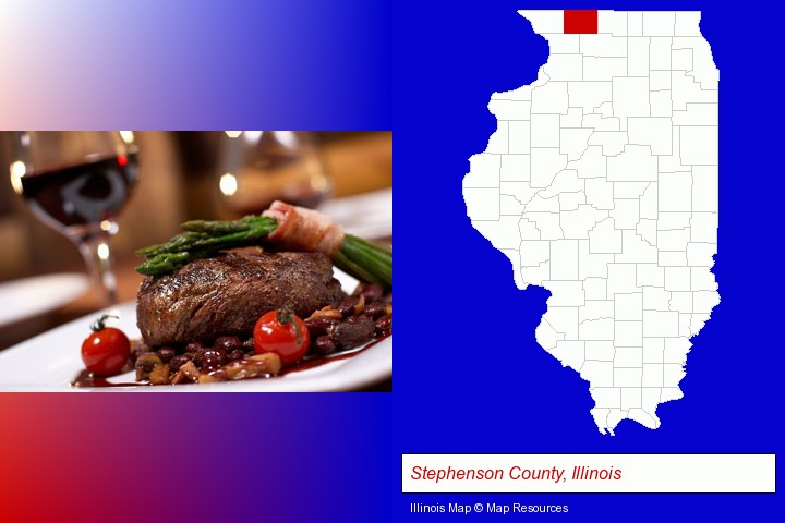 a steak dinner; Stephenson County, Illinois highlighted in red on a map