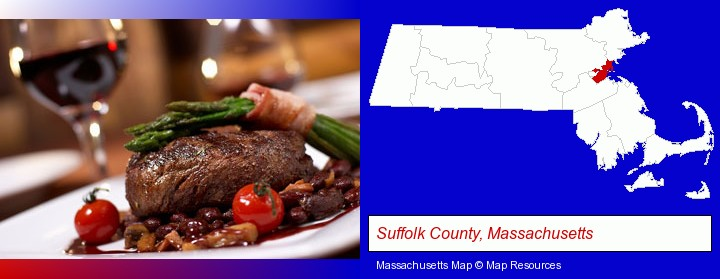 a steak dinner; Suffolk County, Massachusetts highlighted in red on a map