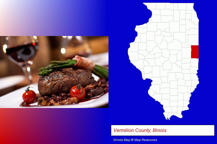 a steak dinner; Vermilion County, Illinois highlighted in red on a map