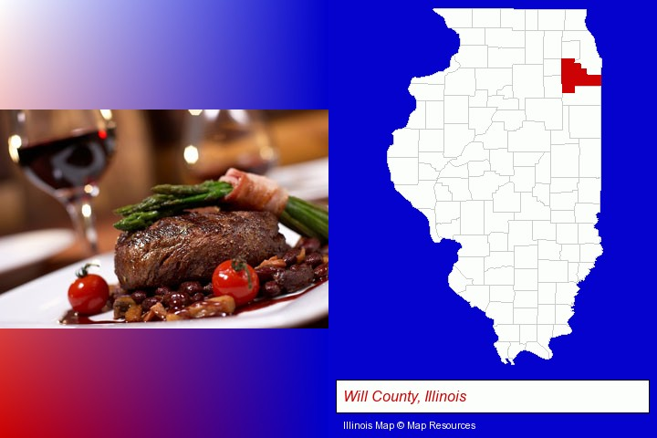 a steak dinner; Will County, Illinois highlighted in red on a map